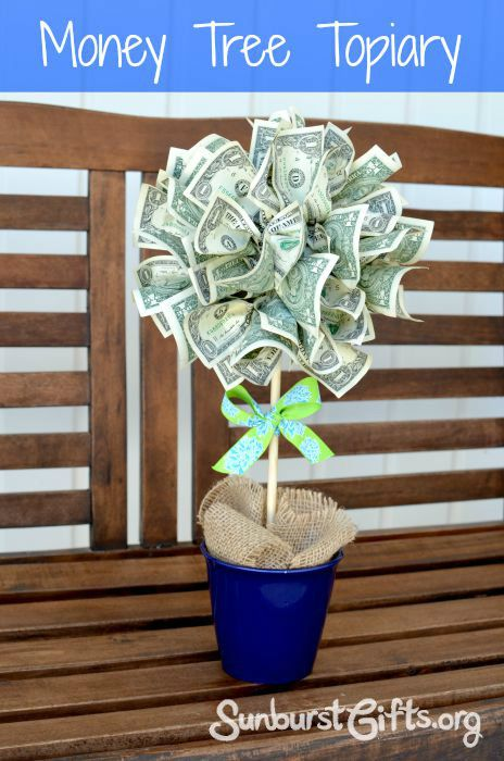 If you can pinch and pin, you can create this easy and creative way to give cash as a gift - the money tree topiary!