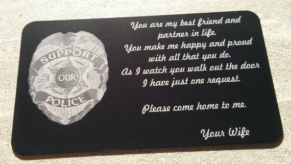 Engraved Wallet Card Police Wallet Card by KDUniqueDesigns on Etsy