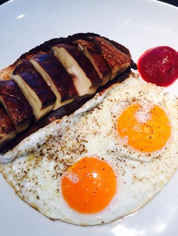 The Foraging Fox Beetroot Ketchup with double Bantam egg & portobello mushroom - Chef Kevin Gratton yum!