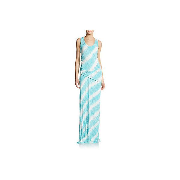 Young Fabulous & Broke Leighton Maxi Dress ($60) ❤ liked on Polyvore featuring dresses, aqua, tie-dye dresses, scoop neck maxi dress, jersey dress, racerback maxi dress and aqua blue dress