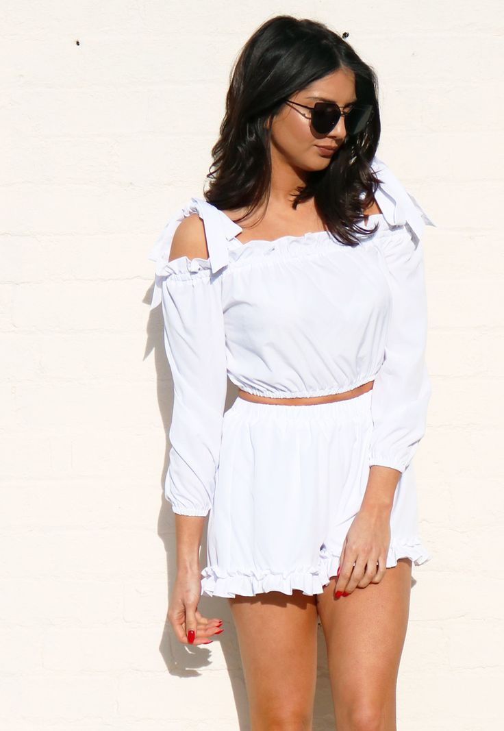 Bardot Off The Shoulder Top with Bow Tie Strap Detail Top & Frill Shorts Co-ord Set in White
