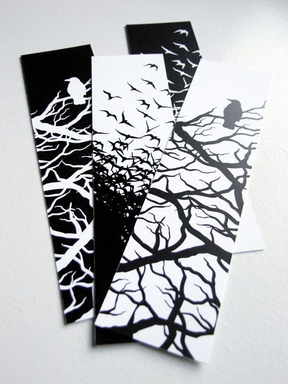 Black and White Crow Bookmarks - Set of 4 on Etsy, $3.00