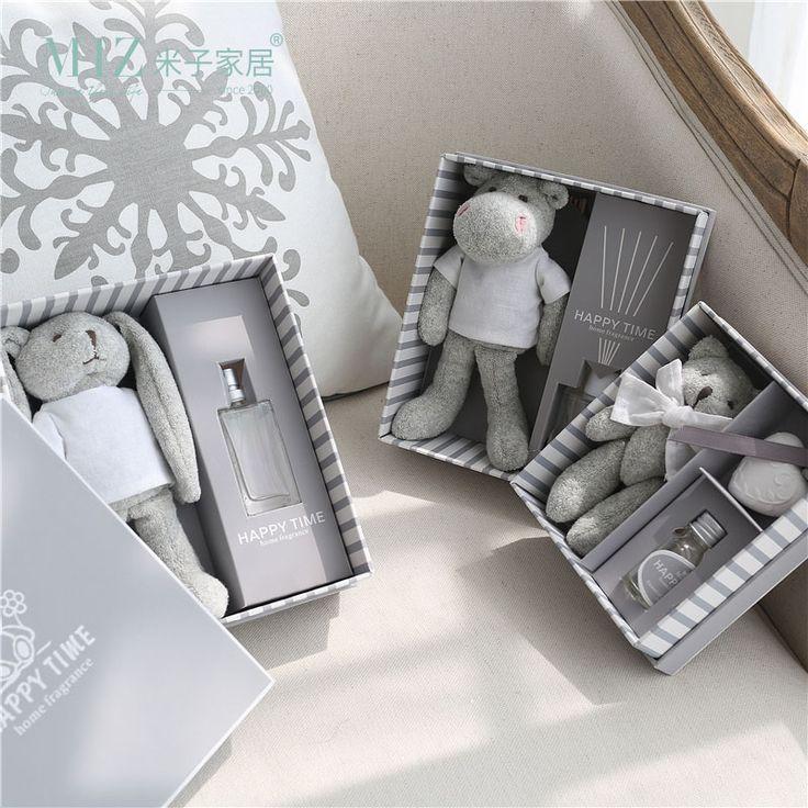 Миз дома серый подарочной коробке плюшевые игрушки с Эфирное масло прекрасный аромат бутылка украшение дома коробка сладкий подарок для Обувь для девочек купить на AliExpress