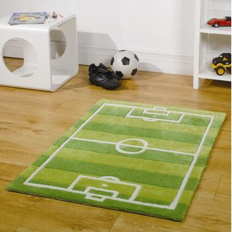 Home Essence Kiddy Play Football Pitch Green Children's Rug