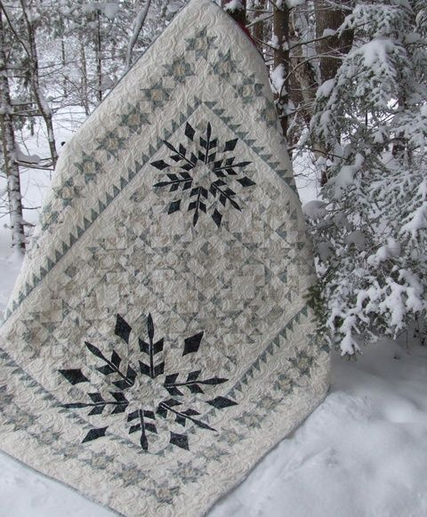 "Winter Joy, 68 x 86"", pieced quilt with appliqued snowflakes. Pattern by Border Creek Station."