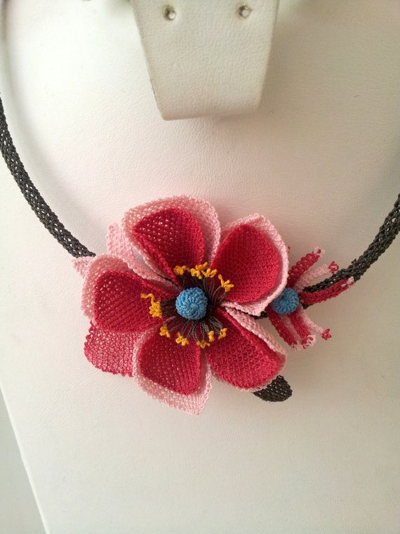 Pink Crochet NecklacePink pendantPink  and Red Poppy by berratosun, $65.00