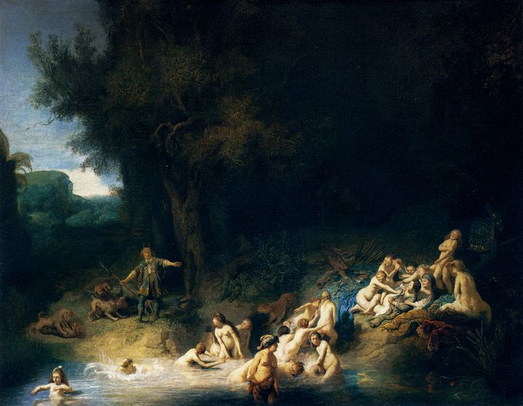 """Rembrandt (1606-1669)  Diana Bathing, with the Stories of Actaeon and Callisto  Oil on canvas  1634  93.5 x 73.5 cm  (3' .81"""" x 28.94"""")"""