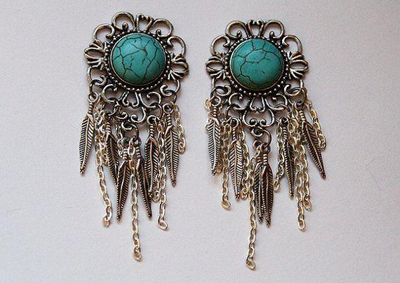 Natural Turquoise Howlite Stone Dreamcatcher Ear Plugs / Gauges; lovelovelovelovelovelove.