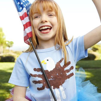 July 4th Handprint Eagle T Shirt Craft for Kids