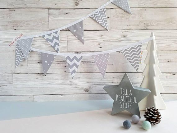 This mini grey fabric bunting will look amazing in any babys nursery or a childs bedroom. Bunting is the perfect gift for a birth, Christening or birthday. It would also look great decorating a baby shower, wedding or party. It could also be used as a Christmas bunting, brilliant if you