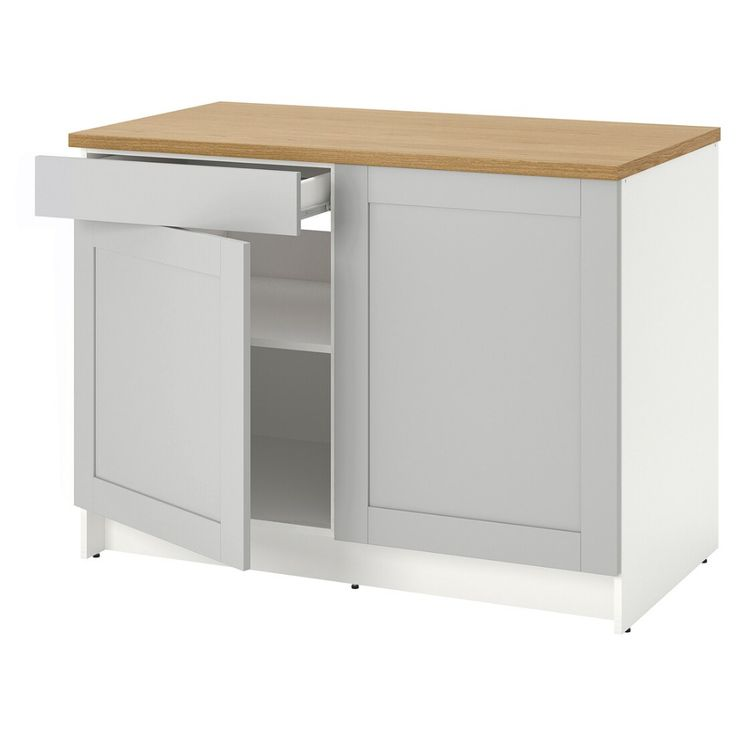 Best Knoxhult Base Cabinet With Doors And Drawer Gray 400 x 300