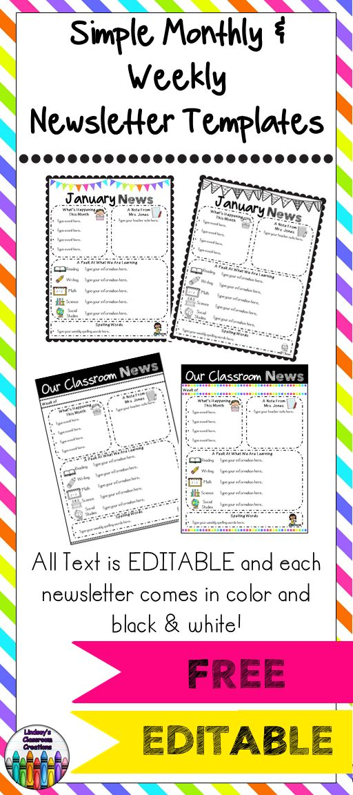 Editable Classroom Newsletter Templates Color Amp Black And White FREEBIE TpT FREE LESSONS