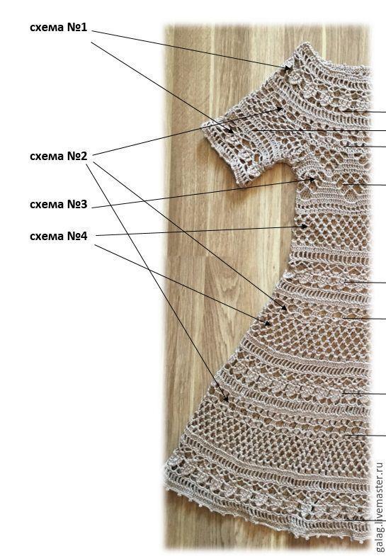 """Pattern crochet """"Baby-doll"""". Купить Описание/схемы к платью """"Беби-долл"""" Galina Zarubina - бежевый, платье летнее, описание вязания."""