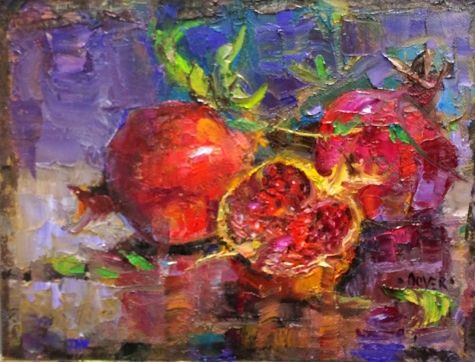 Pomegranate Trio - day 26 in the challenge, painting by artist Julie Ford Oliver