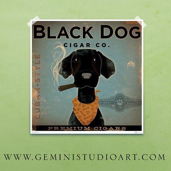 Black Dog Cigar Company vintage style dog artwork by geministudio, $29.00