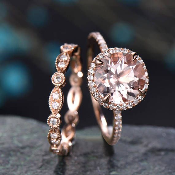 Morganite engagement ring rose gold-handmade Solid 14k Rose gold ring-Marquise Diamond band-round Cut gemstone promise ring-Bridal Ring set