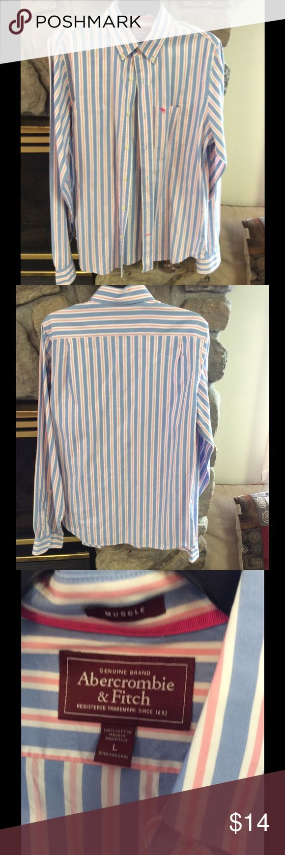 Abercrombie Men's Button Down Shirt Abercrombie men's button down shirt.  Size is large.  This shirt is in excellent condition.  Maybe worn only once or twice.  Size is large.  Bundle to save on shipping. Abercrombie & Fitch Shirts Casual Button Down Shirts