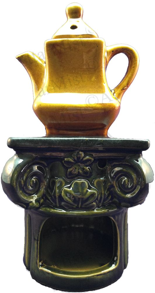 Attar Mist - Tea Pot Oil Burner, $12.00 (http://www.attarmist.com/tea-pot-oil-burner/)  Beautiful Ceramic teapot oil burner set, on a majestic pillar.