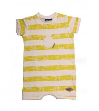 """A short-sleeved babygrow for baby boys, in our """"Palm"""" print with pineapple applique and a Naartjie badge."""