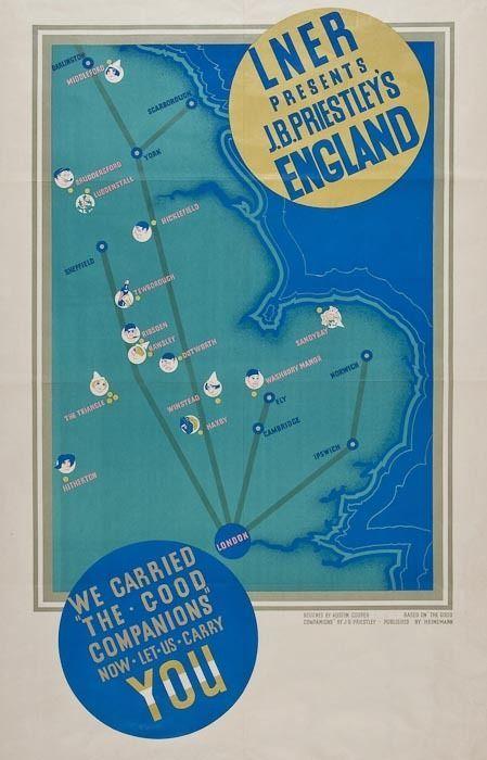 Austin Cooper vintage railway poster J B Priestley Good Companions est. LNER ....17