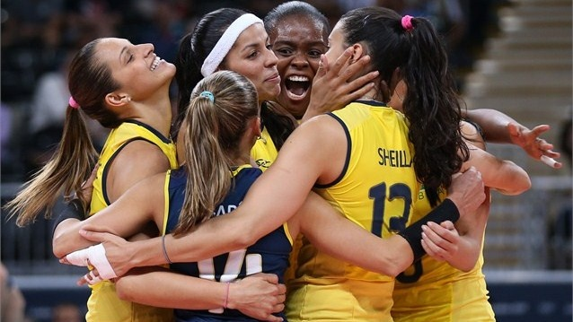 Brazil celebrates winning a point in the women's Volleyball Preliminary match between the United States and Brazil on Day 3.