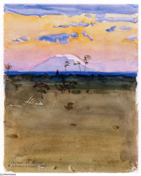 Akseli Gallen-Kallela - Mount Kilimanjaro at sunset, 1909