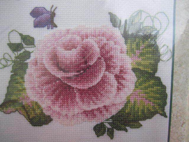 SeeSallySew.com - Rose Cross Stitch Needlework Pattern 43093 Bucilla Rosa Kit , $12.99…