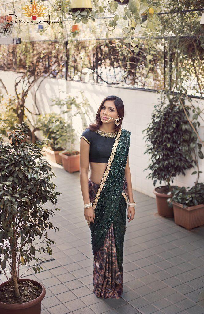 Black & Green Saree - waliajoness - 1