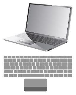 Free Vector がらくた素材庫: ノート パソコンとキーボード配列 laptop with keyboard map