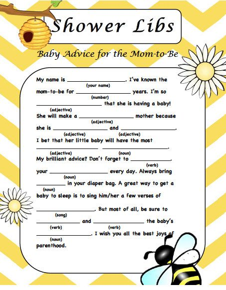 bee baby shower mad lib game digital file just by