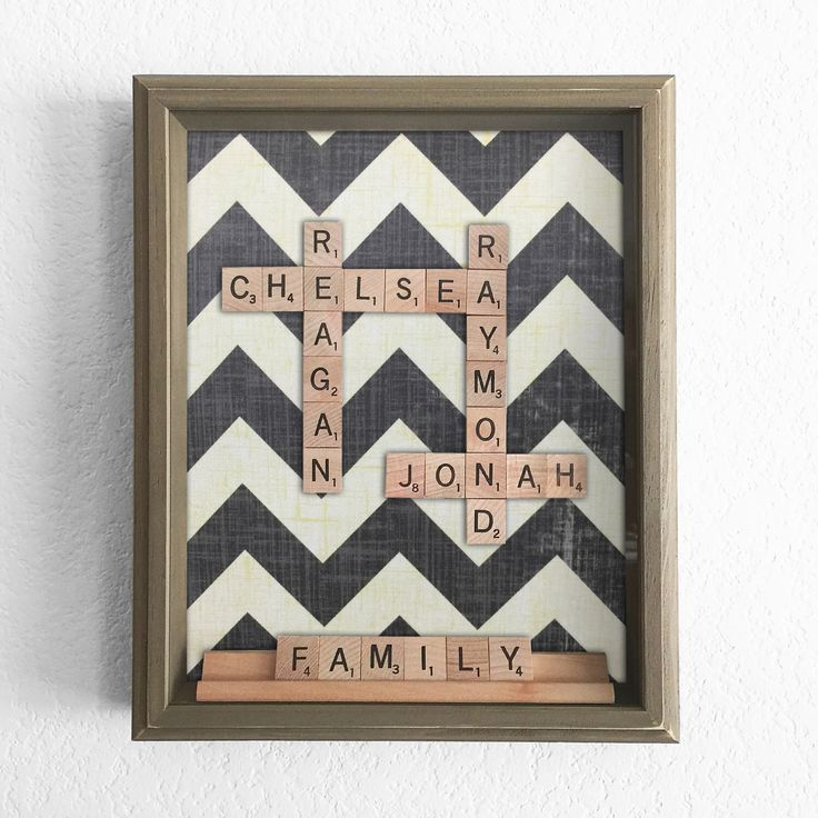 Chevron Scrabble Shadow Box - Personalized Anniversary Birthday Valentines Event Family Childrens Gift - Scrabble Art by TheCharmingLotus on Etsy https://www.etsy.com/listing/220622968/chevron-scrabble-shadow-box-personalized