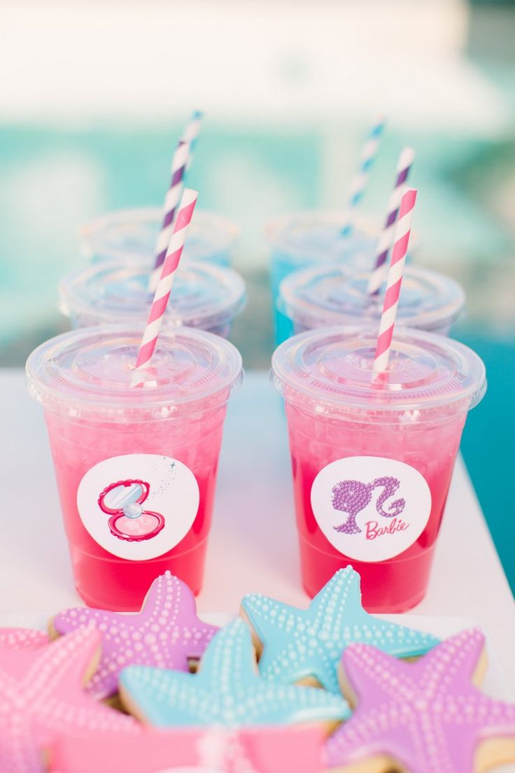 Barbie™ The Pearl Princess Party :: Free Printable Labels! Cups + straws available at shoptomkat.com!