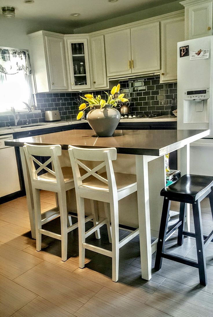 Ikea Stenstorp Kitchen Island Hack We Added Grey Quartz On Top With More Room To