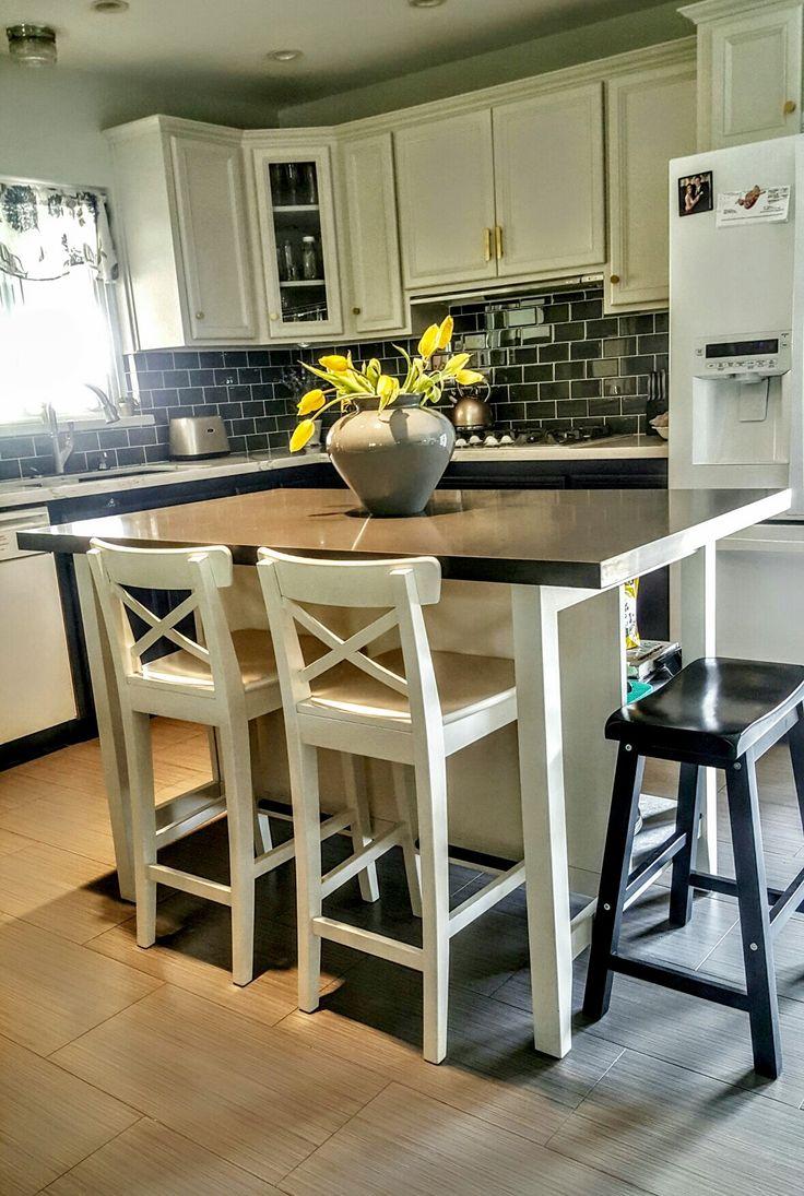 #Ikea #Stenstorp #Kitchen Island Hack. We added grey ...