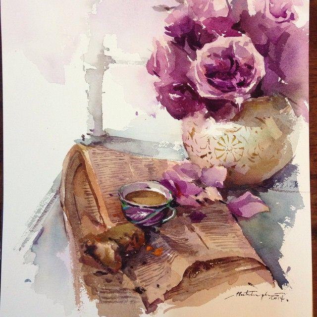 Tea time~~~ #watercolor #paint #painting #floral #roses #flower #tea #time…