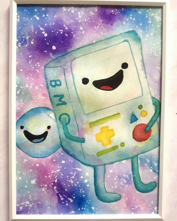 My First Fan Art Creation Bmo And Bubble Watercolor Adventuretime In 2020 Fan Art Art Adventure Time
