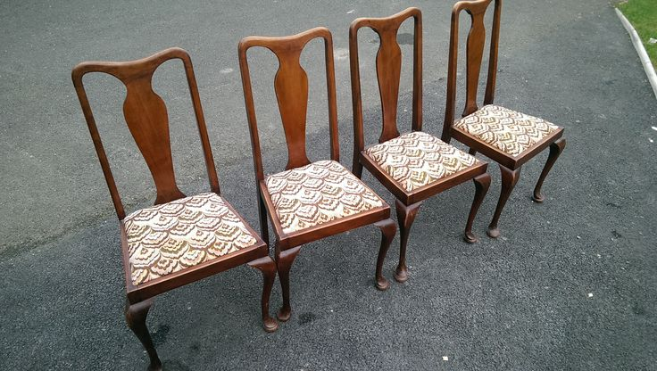 Four Beautiful Edwardian Soft Seat Dining Chairs , Good clean upholstery.  120 Euros for the Set of Four