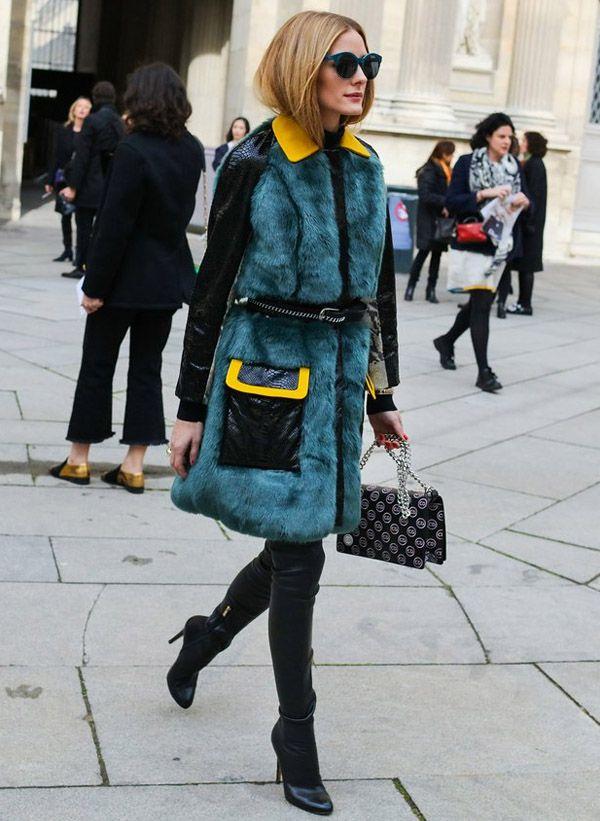 Olivia Palermo Street Style Paris Fashion Week Fur Coat Belt on Top