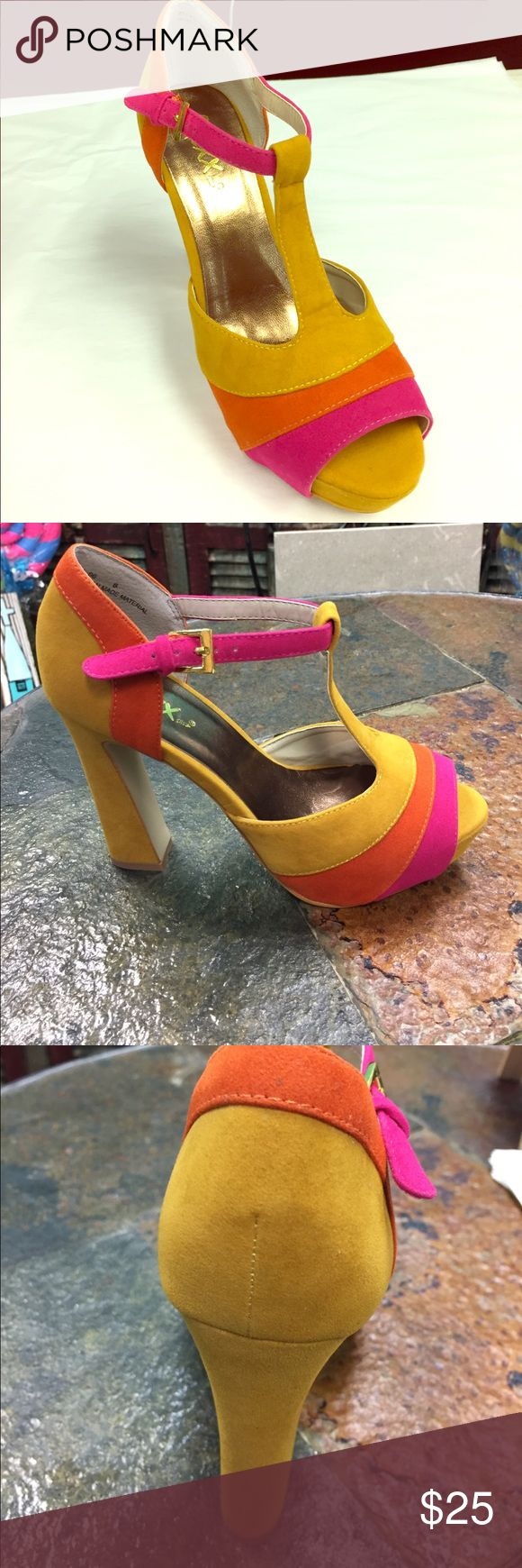 Pink Mustard Orange High Heel Retro Shoes T strap Pink Mustard Orange High Heel Retro Shoes Classic Star Power Here Disco Anyone? Funky Diva Shoe true to size suede material Mixx Shoes Heels
