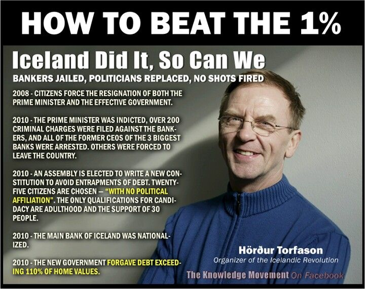 How Iceland beat the 1%  There are so many crooked Americans I don't think this would work.  Scandinavian people are far more open minded about the realities of life than the American sheeple.