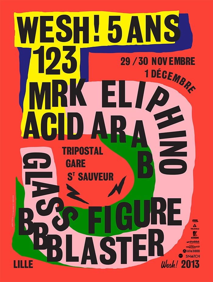 """Idea : students given coloured card and 1 typeface to make an image.  """"Poster/affiche by La Direction (Pedro & Sylvie) (France)"""""""
