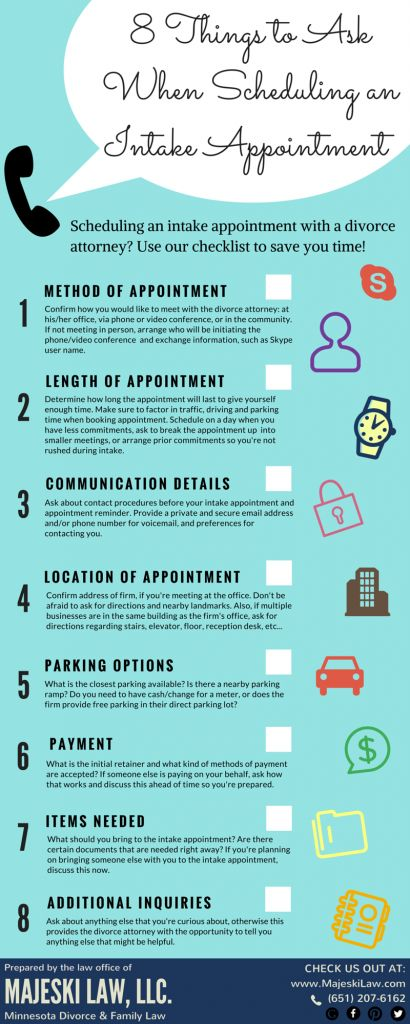 8 Things to Ask When Scheduling an Intake Appointment with a Divorce Attorney. Save time and be prepared by using this free checklist. For more information read our blog post here: http://www.majeskilaw.com/divorce/scheduling-an-intake-appointment-with-a-attorney.html or pin for later.  #divorceattorney