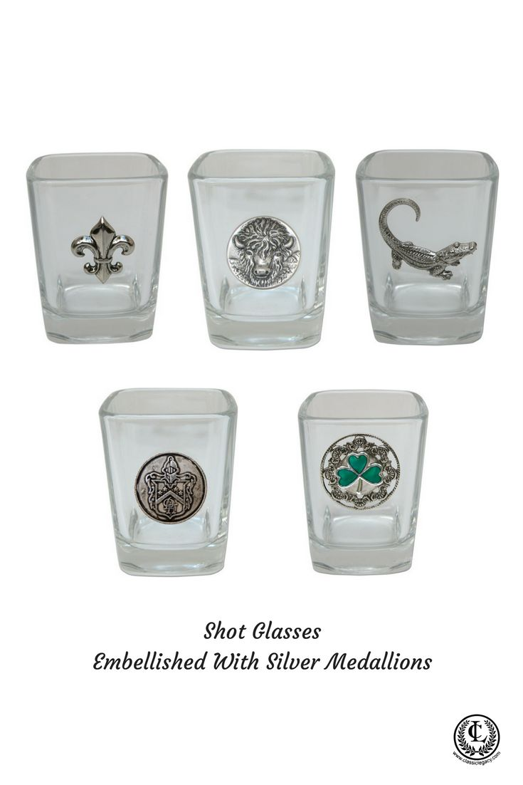 Classic Legacy glassware include shot glasses that are embellished with silver medallions.  Themes include the fleur de lis, buffalo, gator, Irish Shamrock, and the Custom Davenport Hotel Medallion