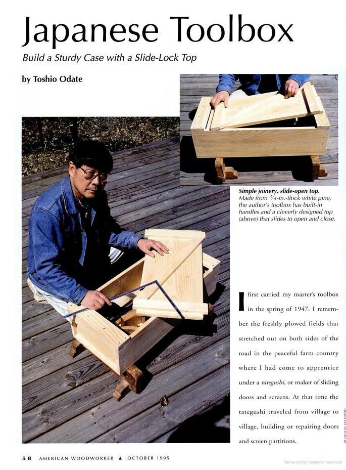 Japansk værktøjskasse - artikel om hvordan den er konstrueret. American Woodworker - Google Bøger