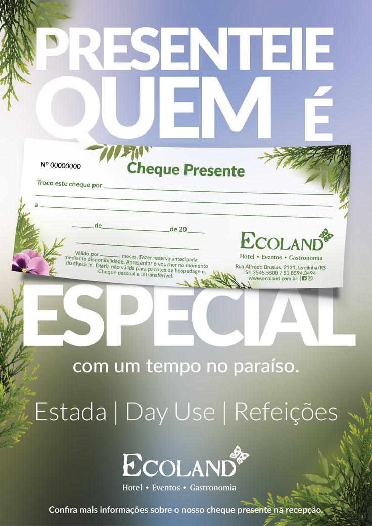 Campanha de divulgação do cheque presente do cliente Ecoland desenvolvida pela Agência Conceito.