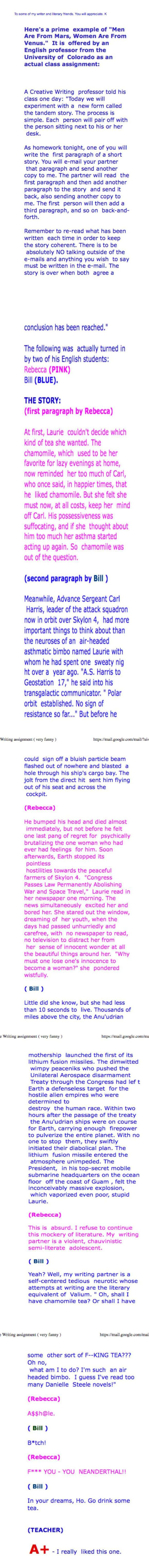 Creative Writing Assignment at Kontraband, I'm still laughing:)