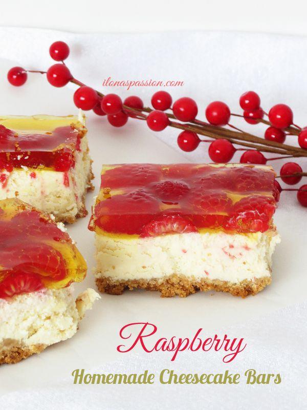 The Best Raspberry Homemade Cheesecake Bars by ilonaspassion.com