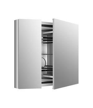 "KOHLER K-99009-NA Verdera 34"" W x 30"" H Aluminum Medicine Cabinet with Adjustable Magnifying Mirror and Slow-Close Door"