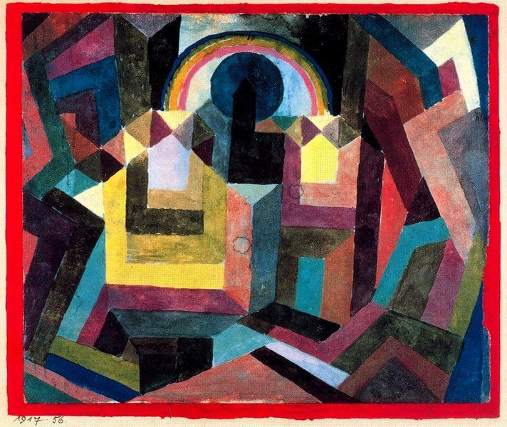 Paul Klee, With the Rainbow, 1917.  Kandinsky was a great friend and huge influence on Klee's work in the early years, when Klee was part of the 'Der Blaue Reiter' Movement, with Macke and Franz Marc too. 'some remark of his could illuminate my research in an illuminating and positive way', Klee declared.