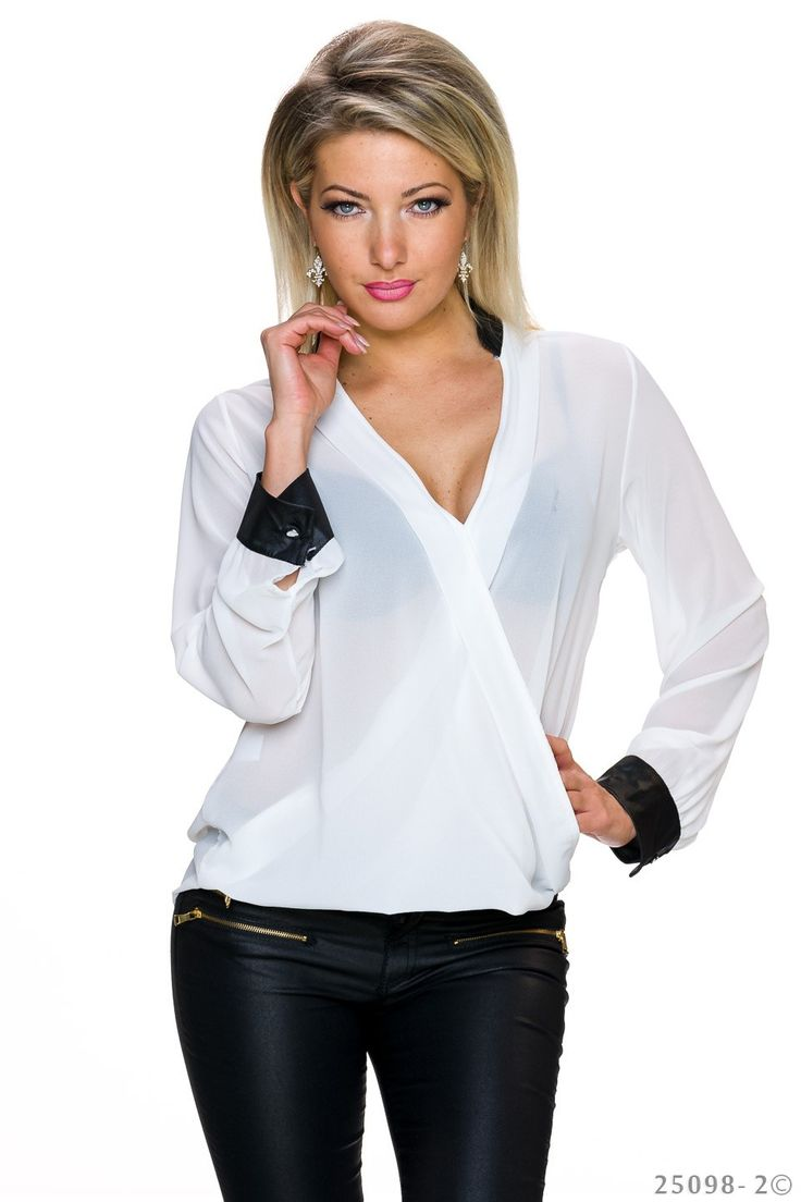 ELEGANTE TRANSPARENTE CHIFFON BLUSE IN WICKEL-OPTIK